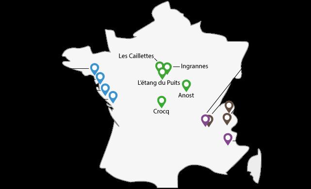 Oeuvre Universitaire du Loiret, colonies de vacances, classes de découvertes : carte des centres